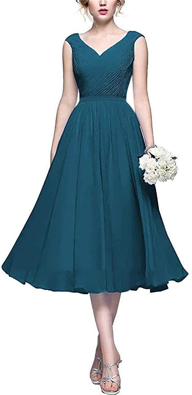 Yangprom Women's Double V Neck Bridesmaid Dress Long Chiffon Wedding Evening Dress