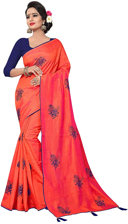 Indian Women Saree Ethnic Traditional Orange Sari with Unstitched Blouse.