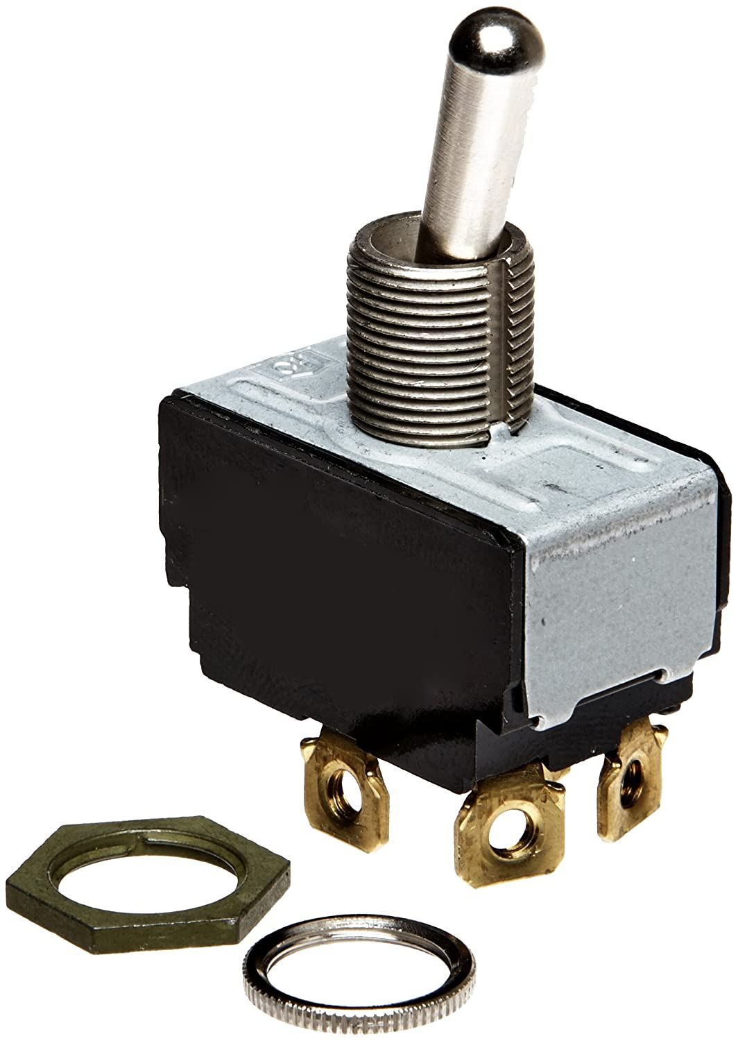 Eaton 7803K31 General Purpose Bat Lever Toggle Switch, AC Rated, Screw Termination, On-None-Off Action, DPST Contacts