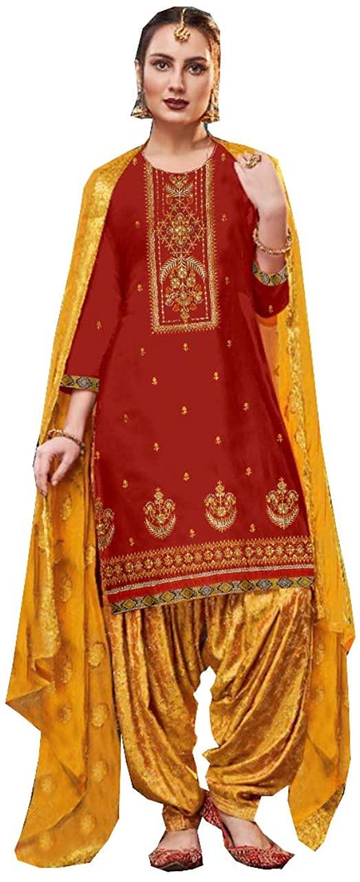 Queen Embroidered Cotton Salwar Kameez Panjabi Style India/Pakistani Dress-Patiala