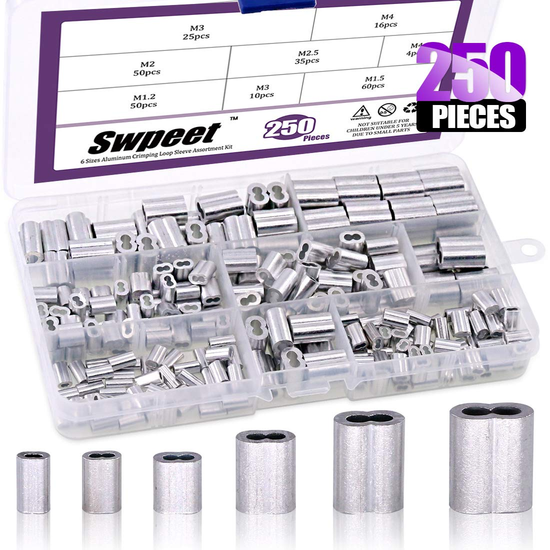 Swpeet 250Pcs 6 Sizes Aluminum Crimping Loop Sleeve Assortment Kit for Wire Rope and Cable or Anything Else Require Strong Cable
