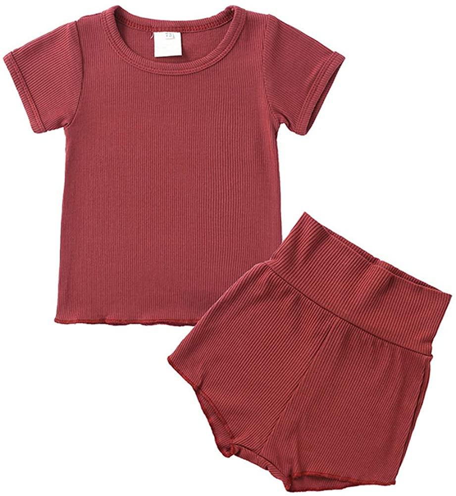 LZH 2Pcs Infant Baby Girls Boys Summer Shirt+Drawstring Shorts Knit Clothes Outfits Set