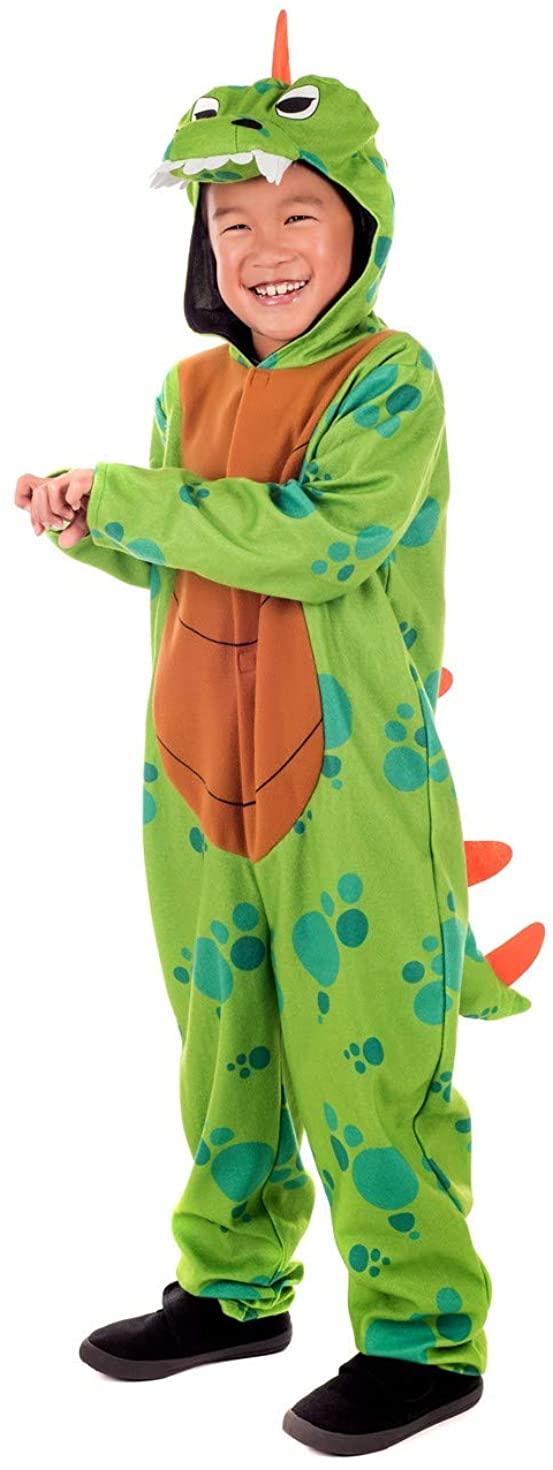 fun shack Kids Dinosaur Costume Childrens Green Hooded Onesie Historical Outfit