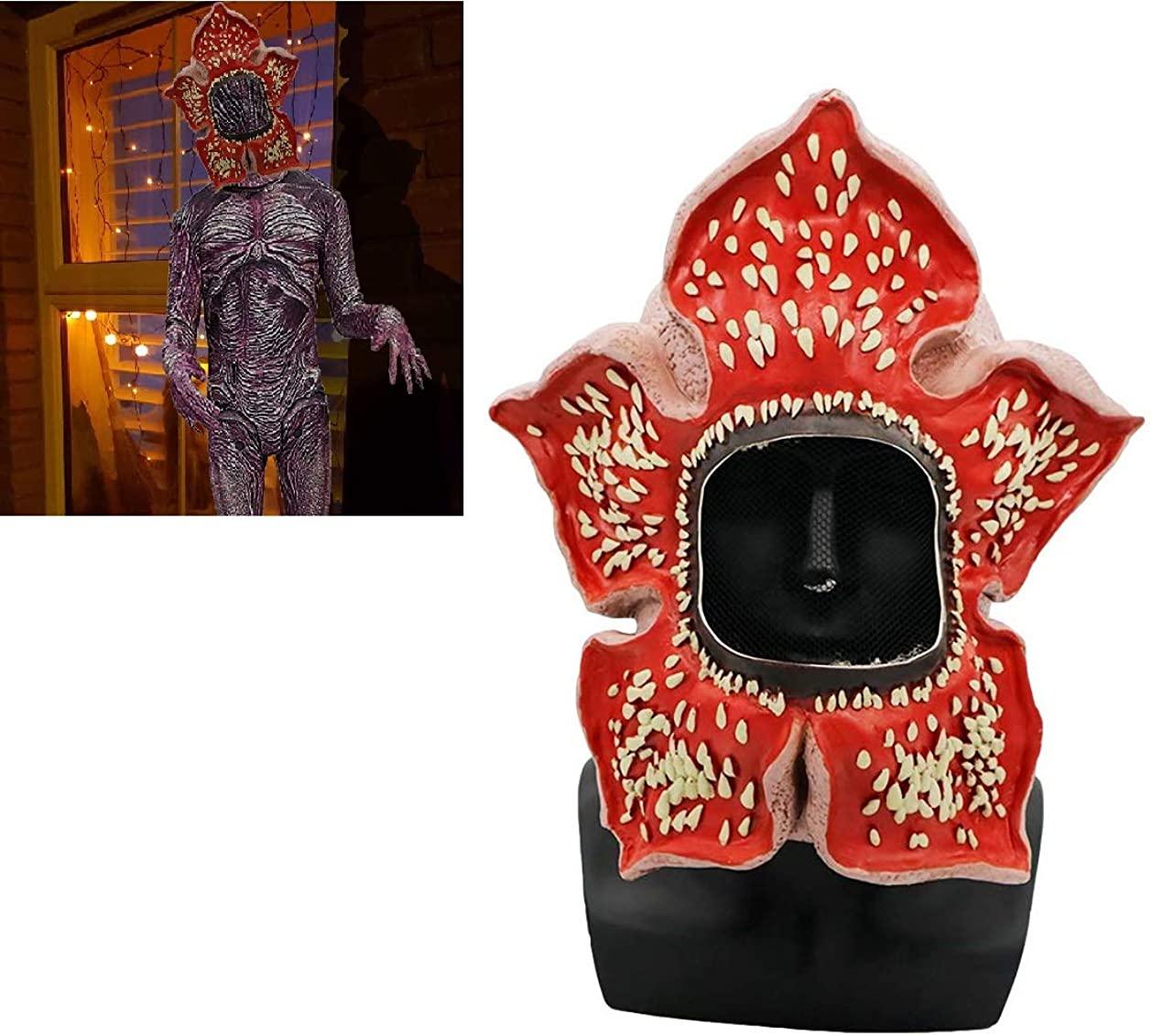 Vercico Stranger Demogorgons Mask Creepy Cosplay Mask Dress Up Headgear Costume Props for Kids Adult Halloween Party Cos Demogorgon Costume Masks Scary Latex Full Head Masks for