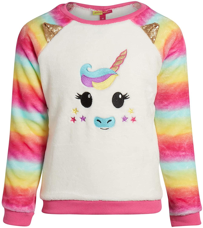 Penelope Mack Girls' Ultra Soft Plush Unicorn/Cat Sweatshirt