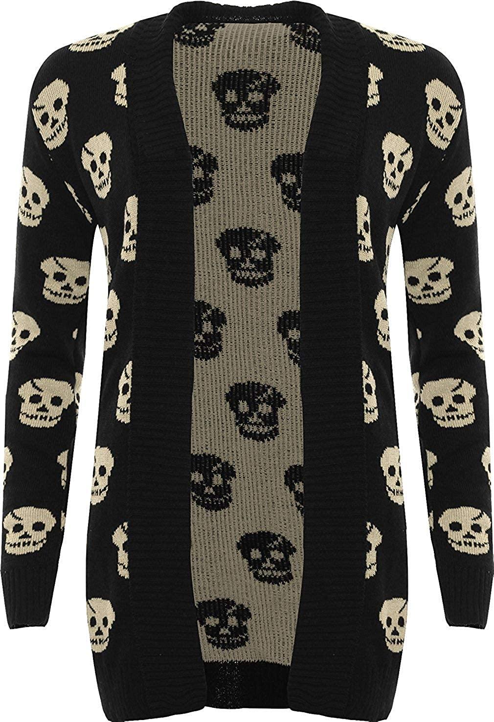 GirlzWalk Women's Ladies Knitted Skull Pattern Print Long Sleeve Open Cardigan