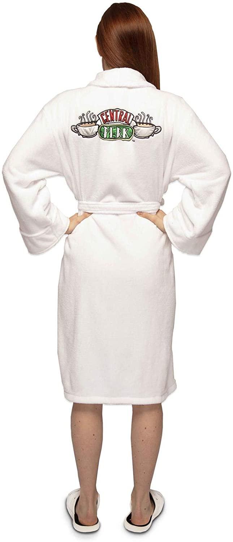 Friends Central Perk Women's White Bathrobe 100% Polyester