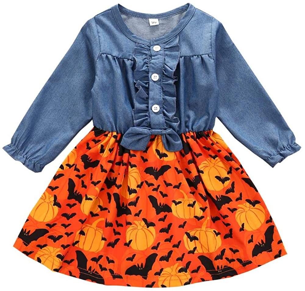 Toddler Baby Girls Halloween Dress Ruffle Bowknot Button Denim Tops Pumpkin Bat Printed Long Sleeve Fall Skirt Clothes