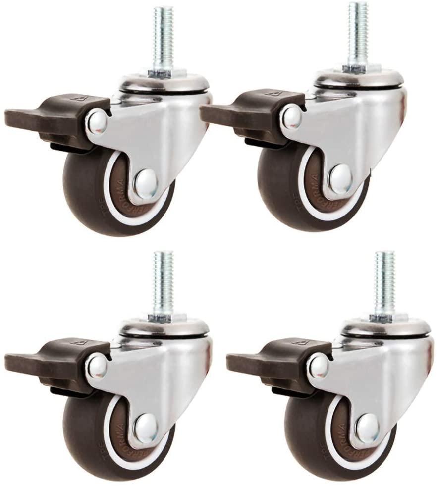 Furniture Casters (4Pcs),1/1.25/1.5/2in Swivel Castors/Swivel Brake Casters,Silent Threaded Rods,Wear-Resistant and Pressure-Resistant,Protect Floor/Brake / 50mm