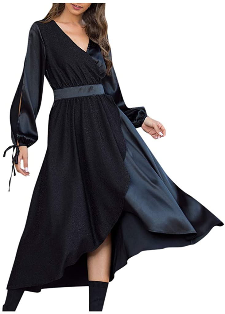 Mikey Store Womens Fashion Long Sleeve V Neck Mid Calf Length Dress Party Dress