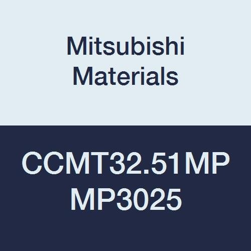 Mitsubishi Materials CCMT32.51MP MP3025 Coated Cermet CC Type Positive Turning Insert with Hole, MP Breaker, Rhombic 80°, Grade MP3025, 0.375