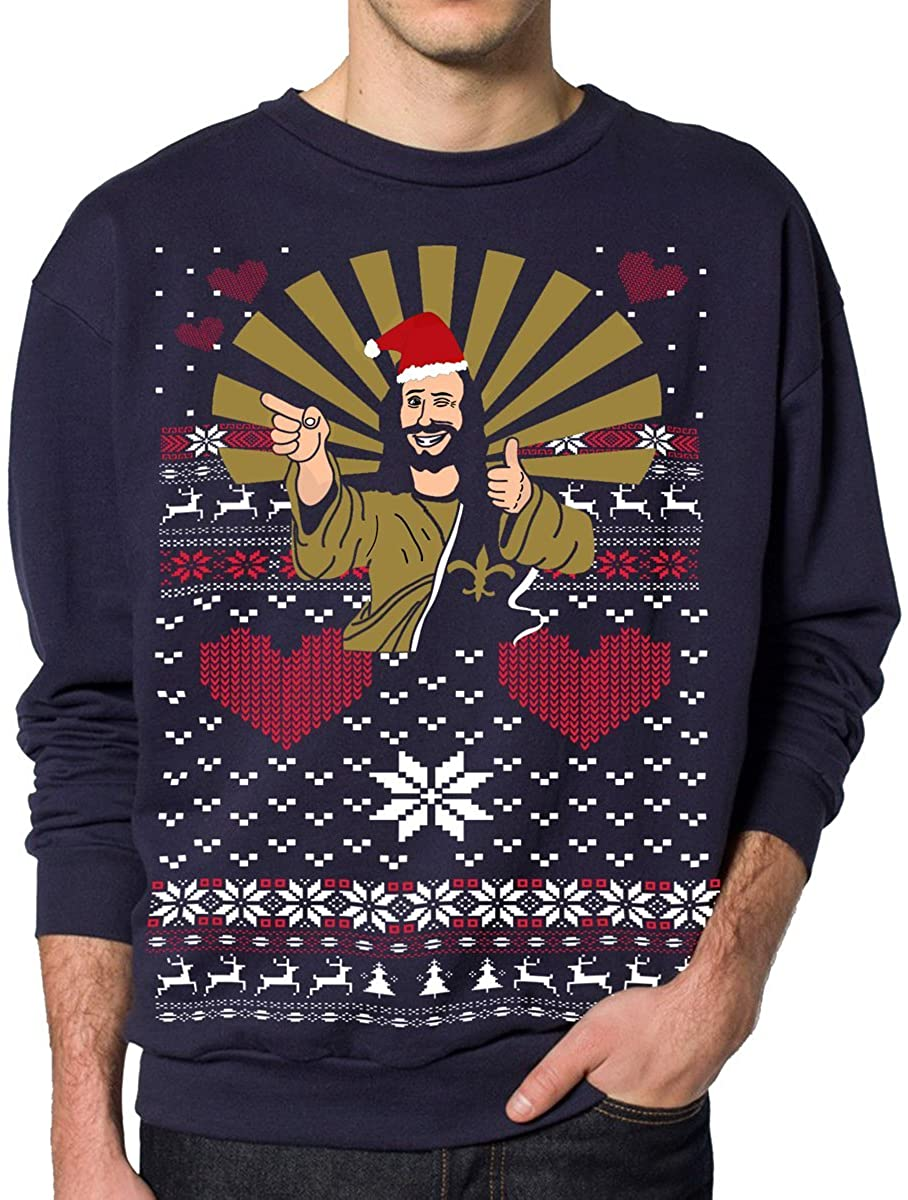 Skip N' Whistle Mens Ugly Christmas Sweater Buddy Jesus Pullover Sweatshirt (Small, Navy Blue)