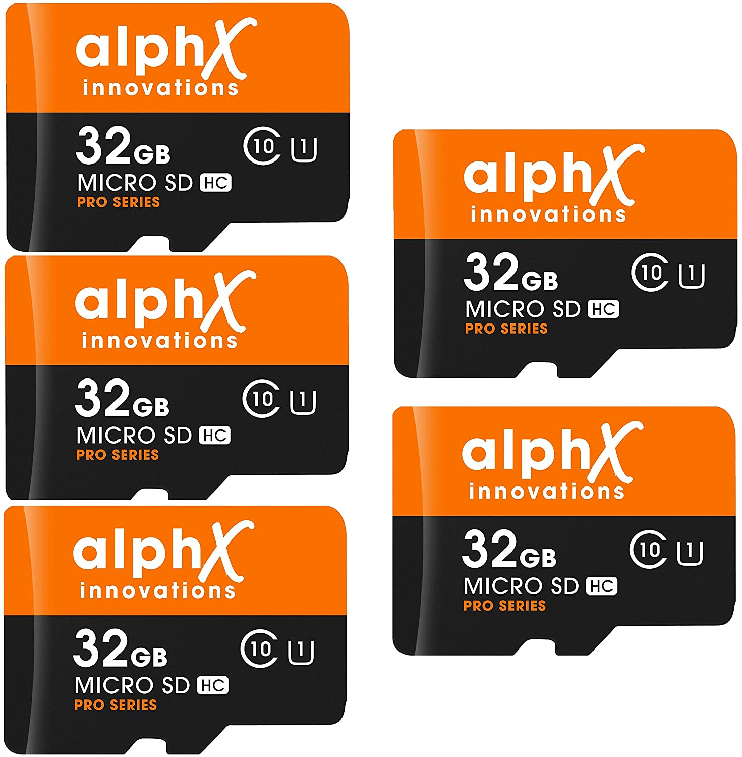 5 Pack AlphX 32gb Micro SD High Speed Class 10 Memory Cards for Samsung Galaxy S9, S9+, S8, Note 8, S7, S5, S4 with Transfer Speed up to 80MB/s