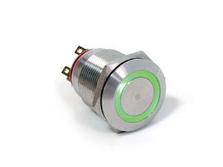 E-SWITCH PV4F2G0SS-331 PV4 Series 2 A DPDT On-On Green Illuminated Anti Vandal Pushbutton Switch - 1 item(s)