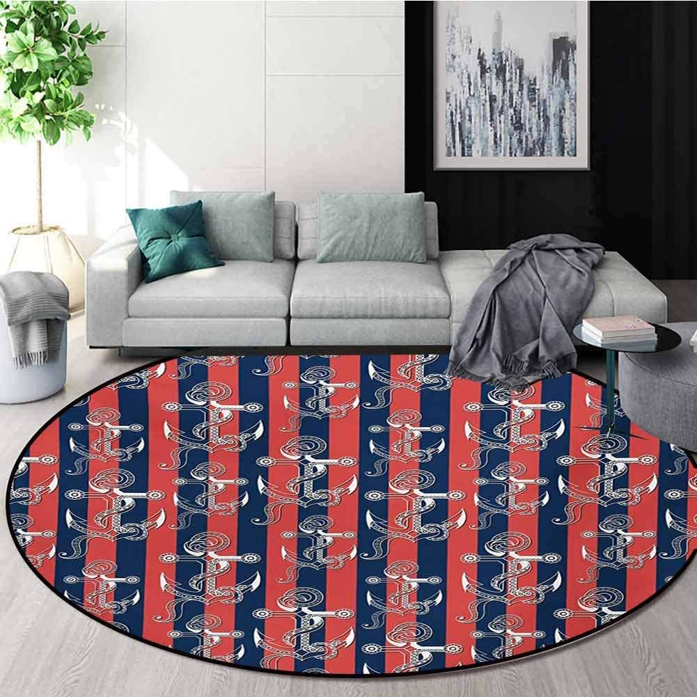 RUGSMAT Anchor Carpet Gray Round Area Rug,Vertical Stripes with Artistic Figures Harbor Seaport Marine Life Pattern Floor Seat Pad Home Decorative Indoor,Diameter-39 Inch Dark Coral Navy Blue White