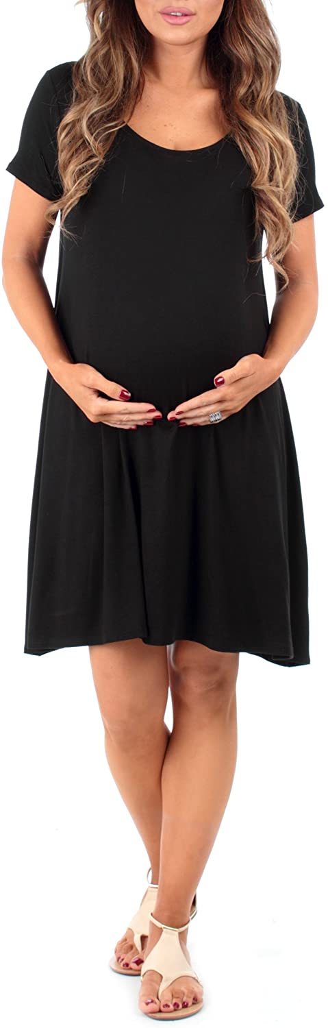 Mother Bee Women's Draped Maternity Tunic Dress with Cross Back and Pockets Made in USA