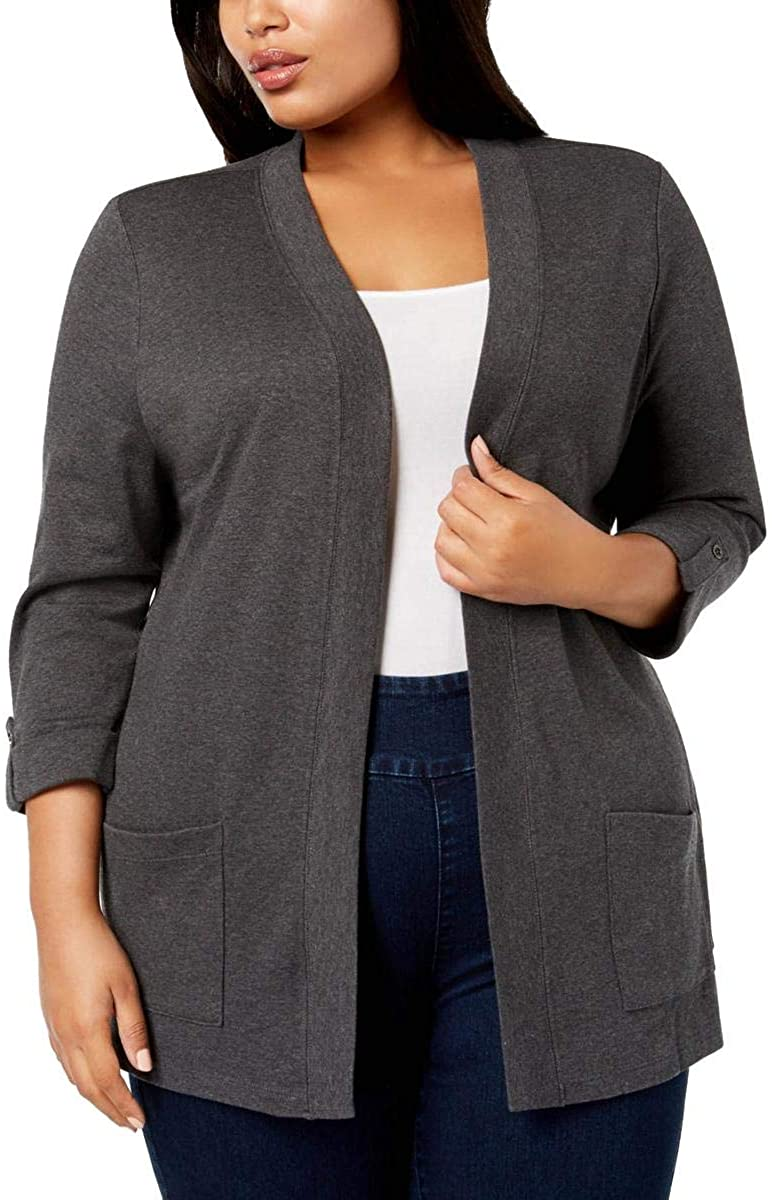 Karen Scott Womens Plus Layering Open Cardigan Sweater