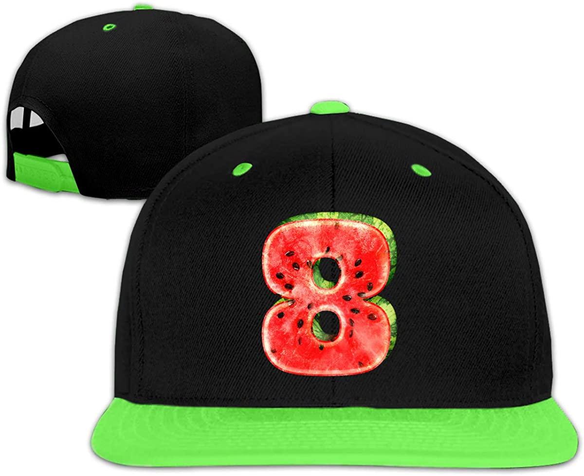 Eden Edies Number #8 Kids Flat Bill Snapback Hat Child Hiphop Baseball Cap Adjustable