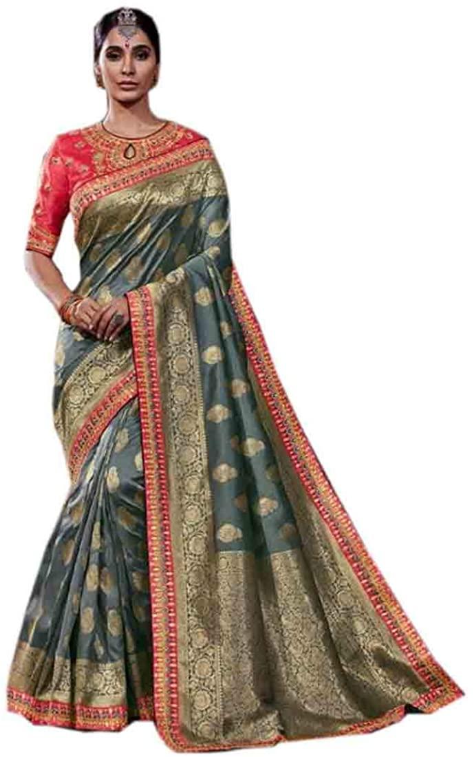 Grey Eid Uljha Wedding Party Designer Soft Pure Banarasi Silk Indian Saree Sari Blouse Muslim Dress 9899B