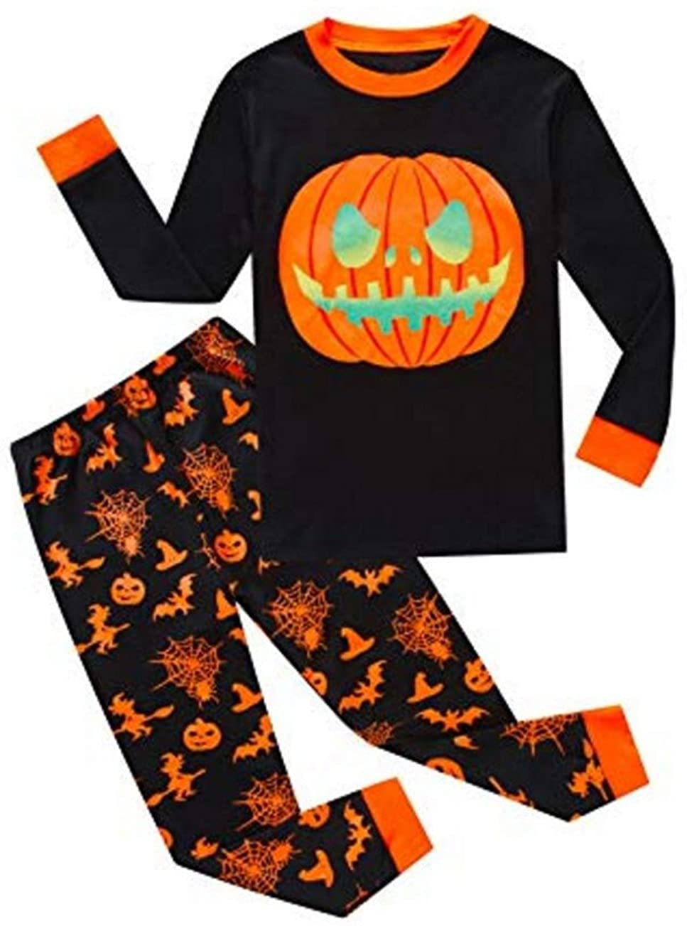 Baby Boys Girls Pumpkin Print Long Sleeve T Shirt Tops Pants Halloween Pajamas Set