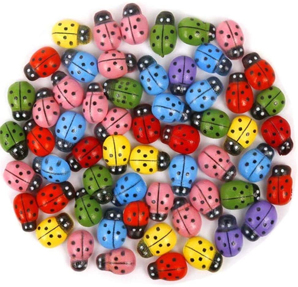 Beetoo 100pcs Self Adhesive Painted Mini Wooden Ladybug Stickers for Craft Scrapbooking DIY Home Decor Plants Garden Cartoon Beetle (Assorted)