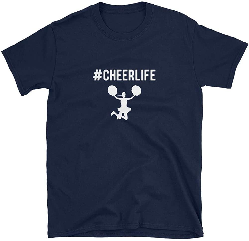 ThirdEyeSupply Hashtag Cheerlife Funny Cheerleader Graphic Short-Sleeve Unisex T-Shirt