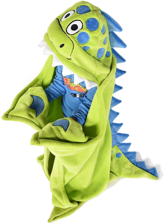 Lazy One Animal Blanket Hoodie for Kids, Hooded Blanket, Wearable Blanket, Dinosaur, Soft, Cozy, Warm, Fleece (Dino Blanket)