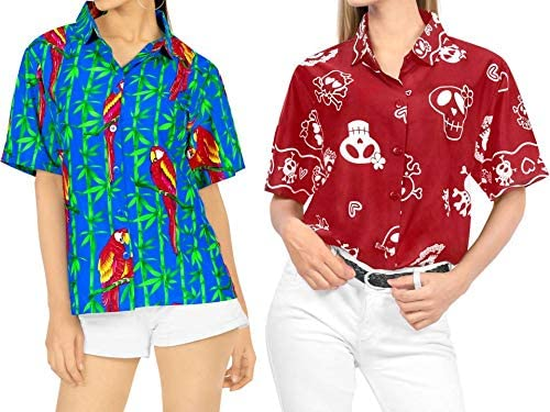 LA LEELA Women's Camp Hawaiian Blouse Shirt Button Down Up Swim Wear Work from Home Clothes Women Beach Shirt Blouse Shirt Combo Pack of 2 Size Medium