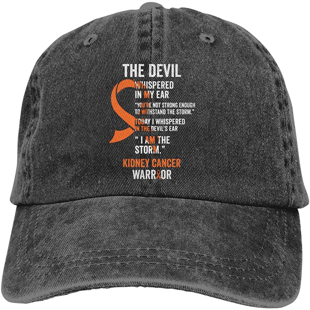 Unisex Kidney Cancer Awareness Vintage Washed Twill Baseball Cap Adjustable Hats Funny Humor Irony Graphics of Adult Gift Black