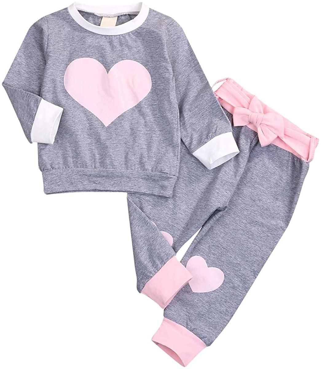 Newborn Baby Girl Clothes Heart Print Top + Pant + Belt Long Sleeve Outfit Sleepwear Set Sweatshirt