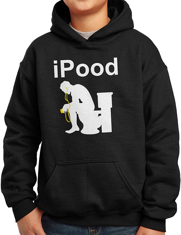 Nutees Ipood Joke Geek Poop Funny Unisex Kids Hoodie Ages 3-15 Years