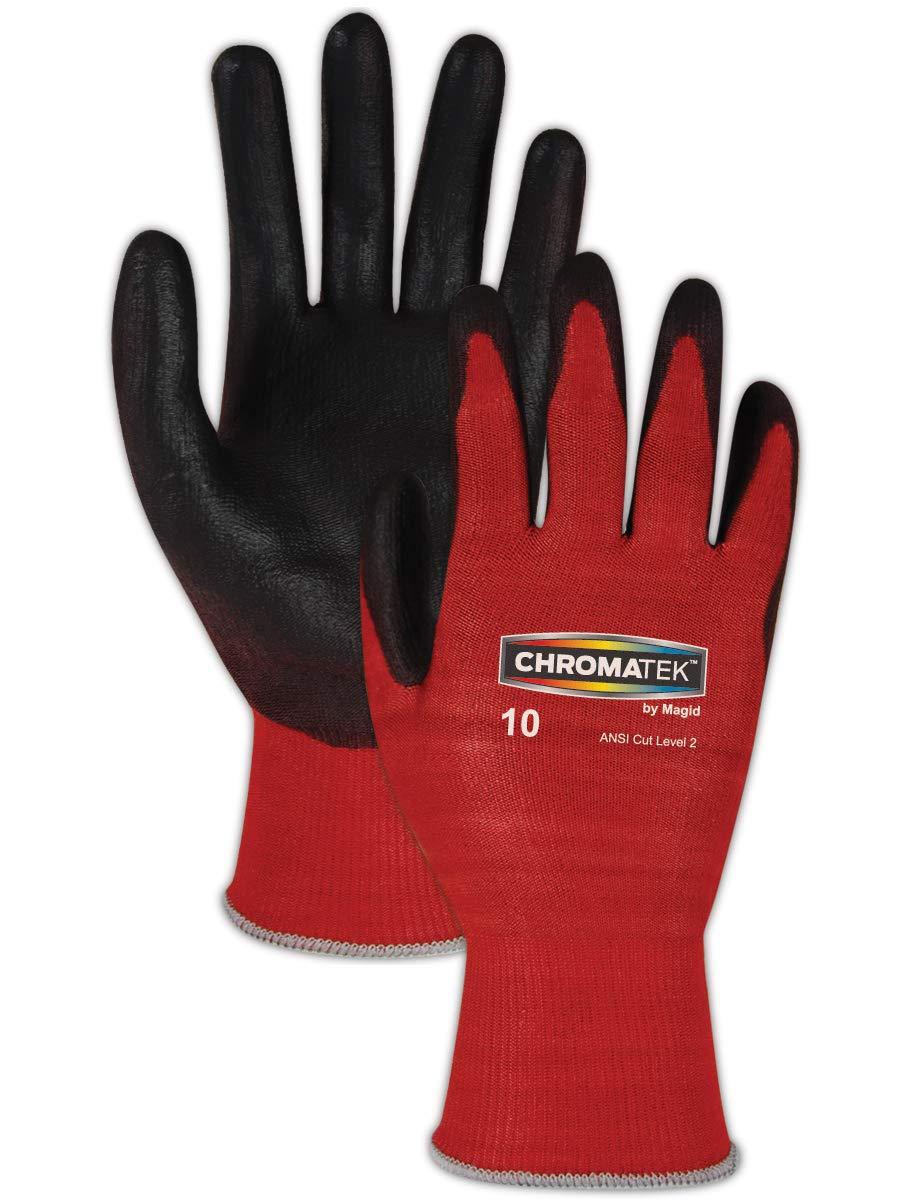 MAGID CT500 ChromaTek HPPE Polyurethane Palm Coated Glove with Knit Wrist Cuff, Work, Size 11, Black/Red (144 Pair)