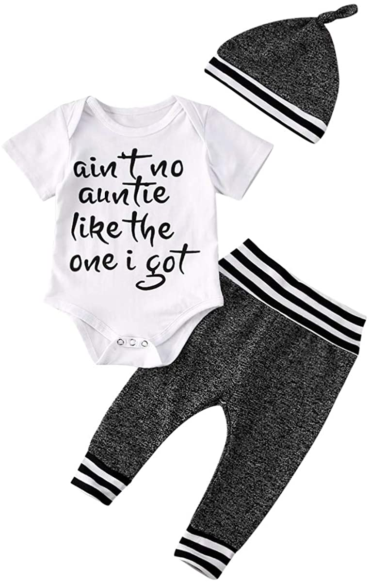 3pcs Newborn Infant Kids Baby Boy Girl Clothes Tops Romper+Pants+Hat Outfits Set