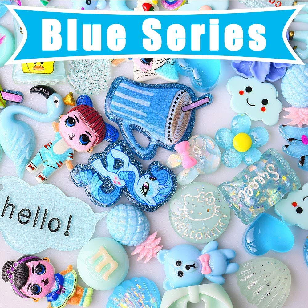 50PCS Scrapbooks Card Embellishment Kawaii Hair Clips DIY Kit Resin Minatures Flatback Slime Charms Hair Bows Making Accessories for Jewelry Shoes Picture Frame Costume Decoration Crafts Arts Projects
