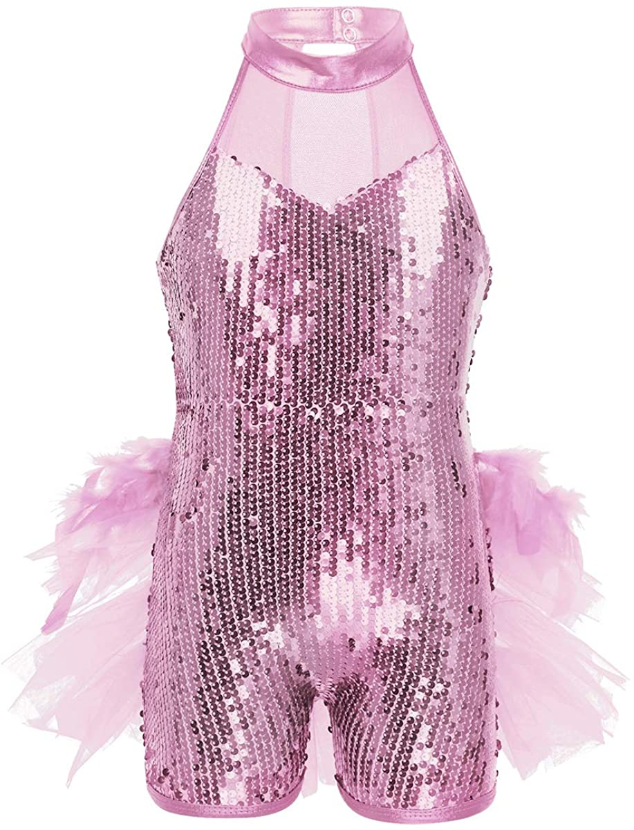 renvena Kids Girls Sleeveless Mock Neck Sequins Mesh Splice Leotard Ballet Jazz Latin Dance Jumpsuit Bodysuit