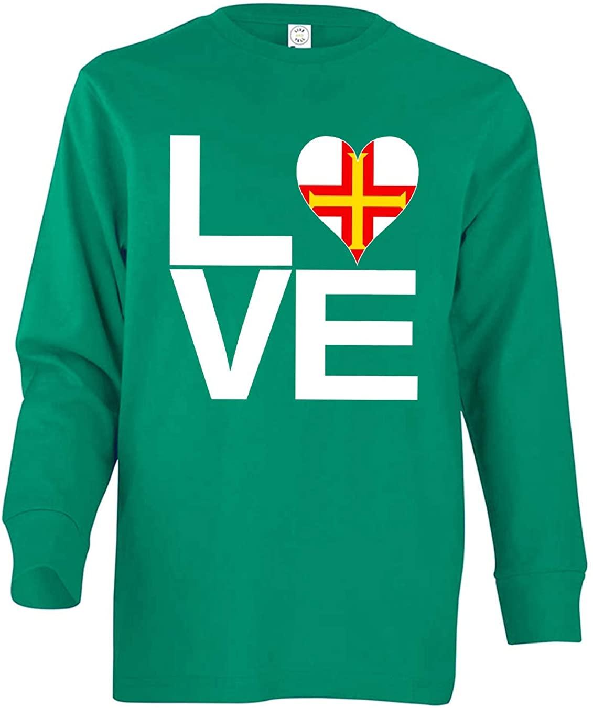 Tenacitee Boy's Youth Love Block Guernsey Heart Long Sleeve