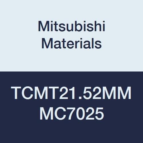 Mitsubishi Materials TCMT21.52MM MC7025 Coated Carbide TC Type Positive Turning Insert with Hole, MM Breaker, Triangular, Grade MC7025, 0.25