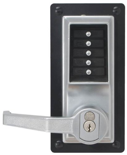 Kaba Simplex LP1000 Series Metal Mechanical Pushbutton Exit Trim Lock with Lever, Combination Entry and Key Override, I/C Best and Equivalents (6 or 7 Pin Length), Core Not Included, Satin Chrome Finish, Right Hand