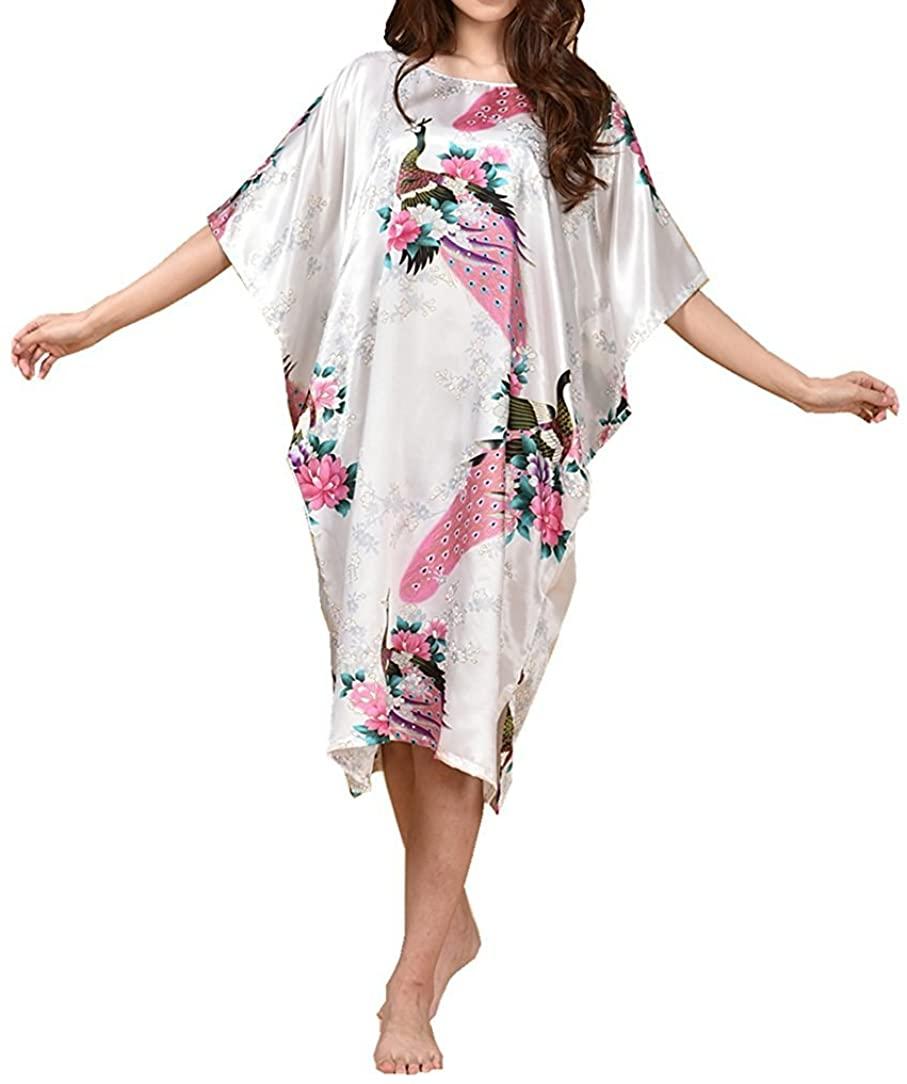 Globalwells Women's Batwing Sleeve Pullover Satin Nightgown Plus Size Pajamas Dress