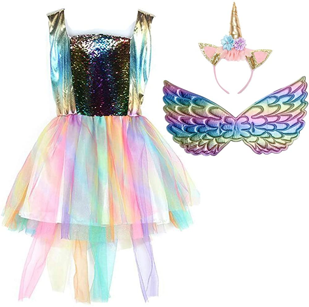 Girls Unicorn Mesh Tulle Tutu Dresses Rainbow Costume with Unicorn Headband Wings Set for Birthday Theme Party Cosplay (L, Gold)