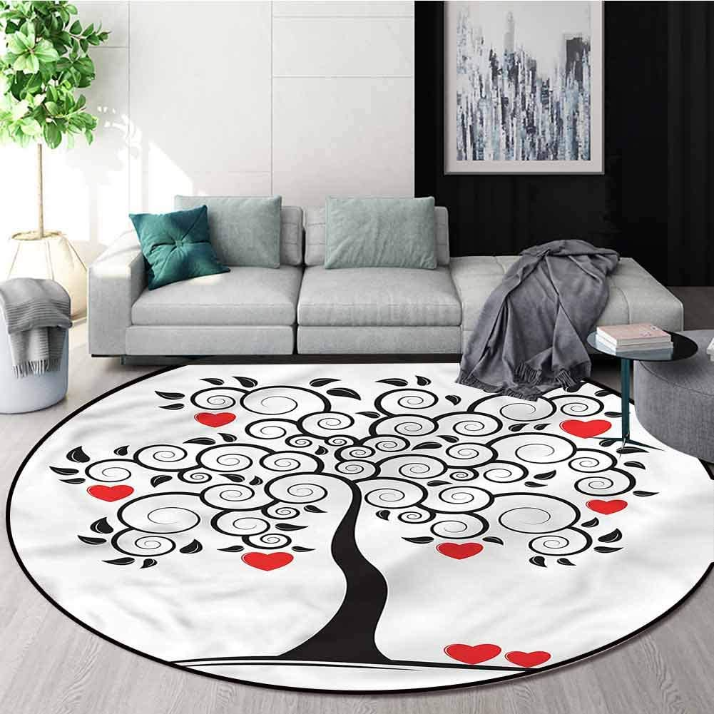 RUGSMAT Love Round Kids Rugs,Abstract Tree of Hearts Spring Circle Rugs for Living Room Diameter-55