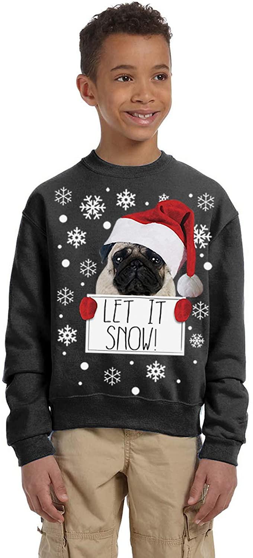 Pekatees Ugly Christmas Holidays Sweater Girls Boys Kids for Youth Let It Snow Xmas Pug Sweatshirt