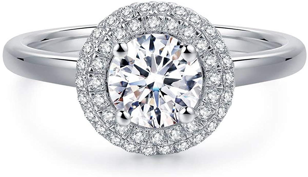 HAFEEZ CENTER Classic Halo Round Brilliant Cut Simulated Diamond CZ Solitaire Engagement Ring Wedding Ring Set Women, Sterling Silver