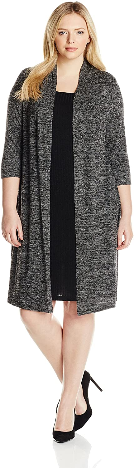 Connected Apparel Women's Plus Size Sweater Dress with Mock Jacket and Belt
