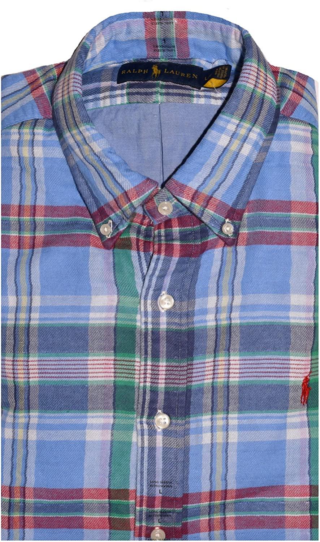 Polo Ralph Lauren Men's Longsleeve Plaid Shirt, BLUE / GRASS (M)