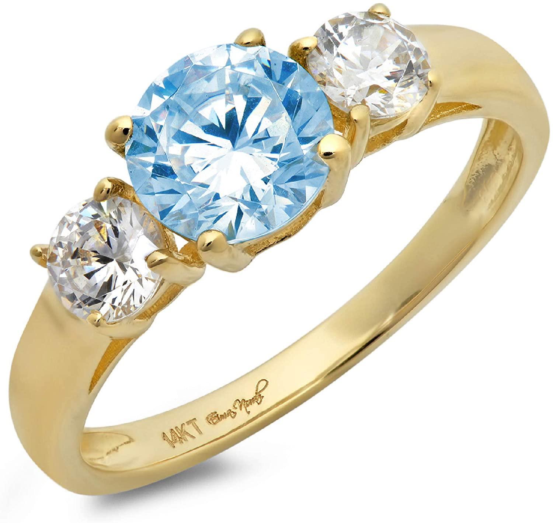 1.47ct Brilliant Round Cut Solitaire three stone Aquamarine Blue Simulated Diamond CZ VVS1 Designer Modern Statement Ring Real Solid 14k Yellow Gold Clara Pucci