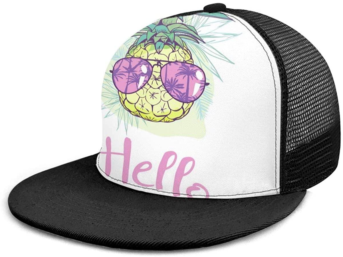 SLHFPX Snapback Hat Pineapple with Glasses Baseball Cap Flat Brim Sun Visor Hat for Women Men