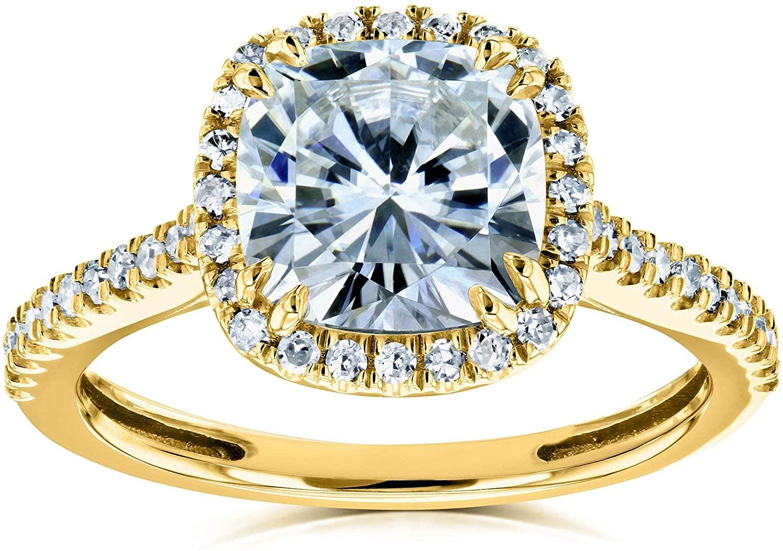 Kobelli Cushion Moissanite Halo Engagement Ring 2 1/4 CTW 14k Yellow Gold