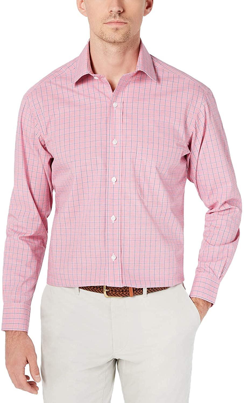 Club Room Men's Regular Fit Performance Windowpane Dress Shirt, Pink