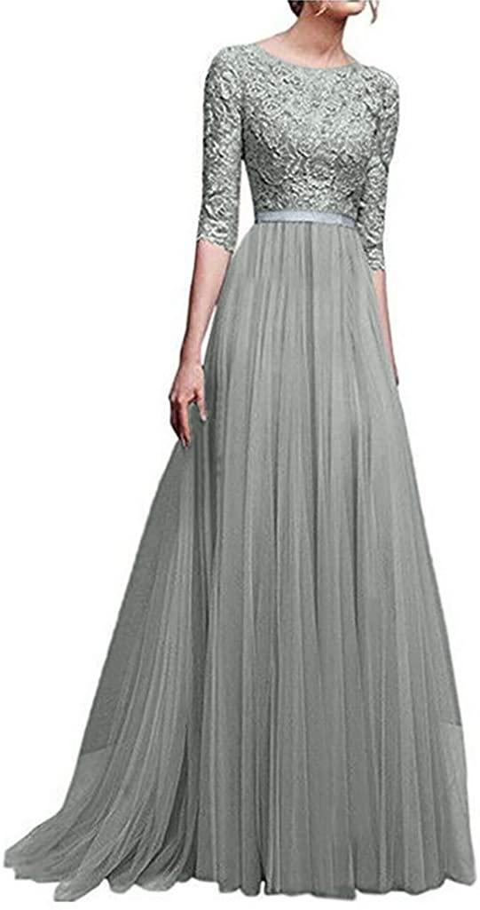 Adeliber Women's Chiffon Bridesmaid Long Evening Prom Dress Lace Long Dress